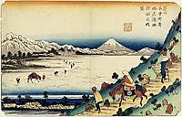 View of Lake Suwa as Seen from Shiojiri Pass, 1830, eisen