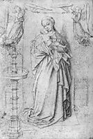 Copy drawing of Madonna by the Fountain, eyck