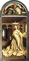 Virgin Annunciate, from the exterior of the right panel of the Ghent Altarpiece, 1432, eyck