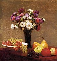 Asters and Fruit on a Table, 1868, fantinlatour