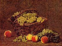 Basket of White Grapes and Peaches, 1895, fantinlatour