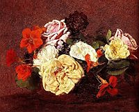 Bouquet Of Roses And Nasturtiums, 1883, fantinlatour
