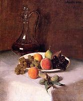 A Carafe of Wine and Plate of Fruit on a White Tablecloth, 1865, fantinlatour