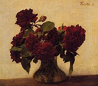 Dark roses on light background, 1891, fantinlatour