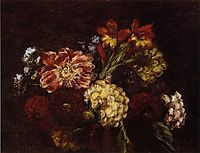 Flowers Dahlias and Gladiolas, 1879, fantinlatour