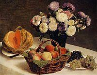 Flowers and Fruit, a Melon, 1865, fantinlatour