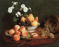Flowers & Fruit on a Table, 1865, fantinlatour