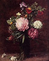 Flowers, Large Bouquet with Three Peonies, 1879, fantinlatour