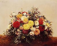 Large Vase of Dahlias and Assorted Flowers, 1875, fantinlatour