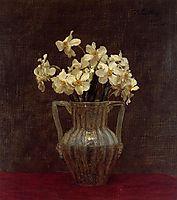 Narcisses in an Opaline Glass Vase, 1875, fantinlatour