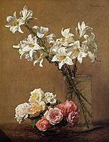 Roses and Lilies, 1888, fantinlatour