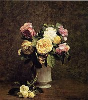Roses in a White Porcelin Vase, 1874, fantinlatour