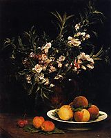 Still Life: Balsimines, Peaches and Apricots, 1877, fantinlatour