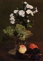 Still Life Chrysanthemums and Grapes, 1872, fantinlatour