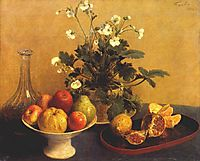 Still life. Flowers, Bowl of Fruit and Pitcher, 1865, fantinlatour