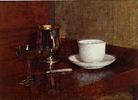 Still Life: Glass, Silver Goblet and Cup of Champagne, 1861, fantinlatour