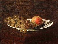 Still Life Peach and Grapes , 1870, fantinlatour