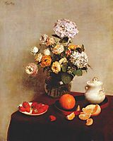 Still Life Vase Of Hydrangeas And Ranunculus, 1866, fantinlatour