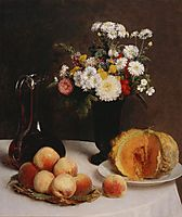 Still Life with a Carafe Flowers and Fruit, fantinlatour