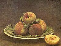 Still life with peaches, 1880, fantinlatour