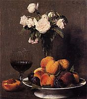 Still Life with Roses, Fruit and a Glass of Wine, 1872, fantinlatour