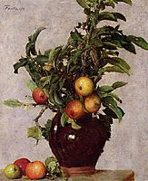 Vase with Apples and Foliage, 1878, fantinlatour