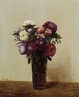 Vase of Flowers Queens Daisies, 1872, fantinlatour