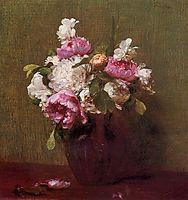 White Peonies and Roses, Narcissus, 1879, fantinlatour