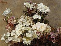 White Phlox, Summer Chrysanthemum and Larkspur, 18, fantinlatour