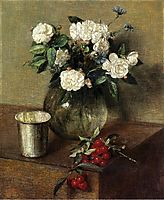White Roses and Cherries, 1865, fantinlatour