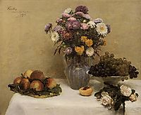 White Roses, Chrysanthemums in a Vase, Peaches and Grapes on a Table with a White Tablecloth, 1876, fantinlatour