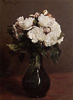 White Roses in a Green Vase, 1871, fantinlatour