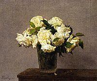 White Roses in a Vase, 1885, fantinlatour