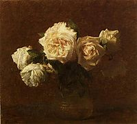 Yellow Pink Roses in a Glass Vase, 1903, fantinlatour