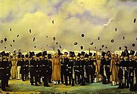Grand Duke Mikhail Pavlovich Visiting the Camp of the Finland Regiment of Imperial Guards on July 8, 1837, 1838, fedotov