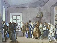 Police Commissary-s Reception Room the Night Before a Holiday, 1837, fedotov
