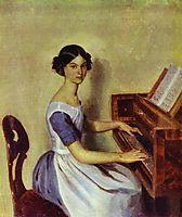 Portrait of Nadezhda P. Zhdanovich at the Piano, 1849, fedotov