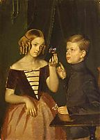 Portrait of Olga Ivanovna and Fedor Ivanov, 1851, fedotov