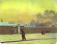 Wintry Street on Vasilievsky Island, St. Petersburg, c.1851, fedotov