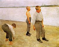 Boys Throwing Pebbles into the River, 1890, ferenczy