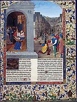 Boccaccio-s De Casibus writing. A courier delivering Luvrs to Mainardo dei Cavalcanti Boccaccio, fouquet