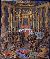 Desecration of the Temple of Jerusalem in 63 BC by Pompey and his soldiers, c.1470, fouquet