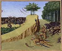 The Emperor Charlemagne Finds Roland-s Corpse after the Battle of Roncevaux, c.1460, fouquet