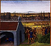 King Clothar II (584-629) cannot bring back his son Dagobert I (605-39) to Paris, c.1460, fouquet