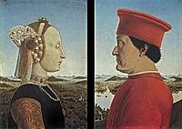 Portraits Federico da Montefeltro and Battista Sforza, 1465, francesca