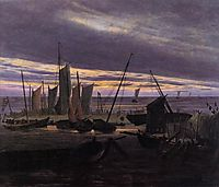 Boats in the Harbour at Evening, 1828, friedrich