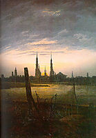 City at Moonrise, 1817, friedrich