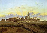 Neubrandenburg in Flames, Sunrise near Neubrandenburg, 1835, friedrich