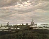 Flat country shank at Bay of Greifswald, 1834, friedrich