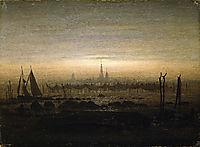 Greifswald in moonlight, 1817, friedrich